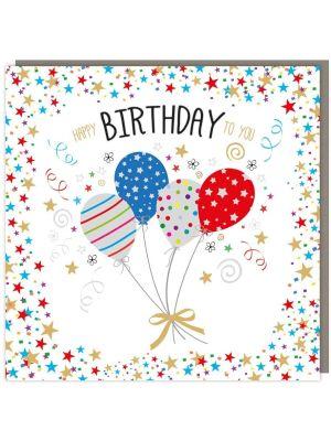 Tracks Sparkle Balloons Birthday Card