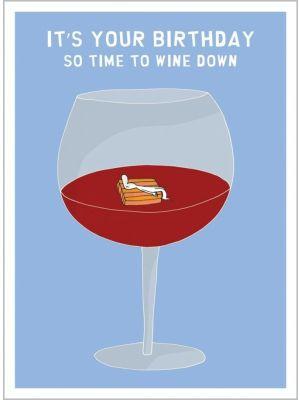 Harold's Planet Wine Down Birthday Card