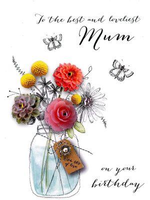 Second Nature Mum Flower Jar Birthday Card