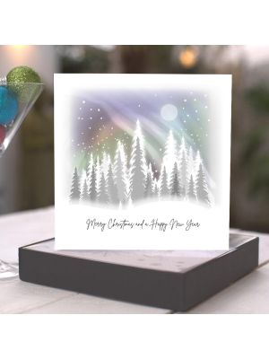 Five Dollar Shake Winter Aurora Borealis Forest Christmas Boxed Cards