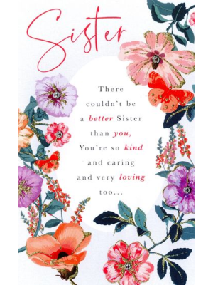 Second Nature SIster Words to Cherish Birthday Card