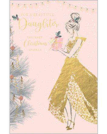 Abacus Gold Dress Beautiful Daughter Christmas Card