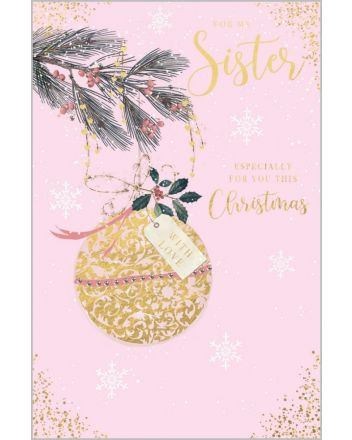 Abacus Gold Bauble Sister Christmas Card
