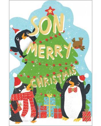Abacus Penguins Son Christmas Card