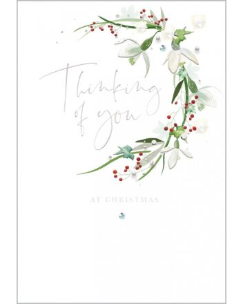 Abacus Winter Flowers Thinking of You Christmas Card