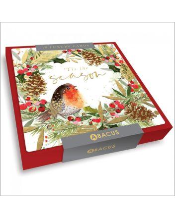 Abacus Tis The Season Robin 10 Christmas Card Box