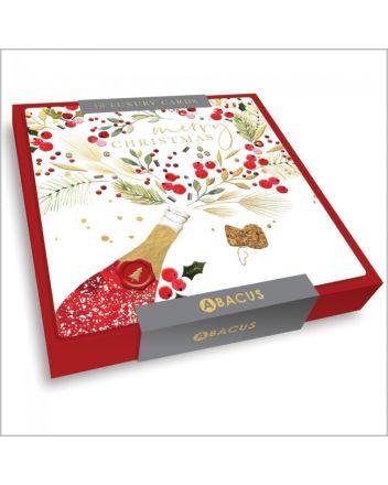 Abacus Festive Wine Bottle 10 Christmas Card Box