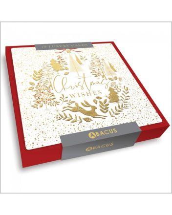 Abacus Festive Golden Bauble 10 Christmas Card Box