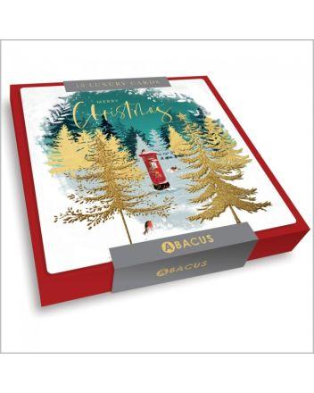 Abacus Postbox Amongst Trees 10 Christmas Card Box
