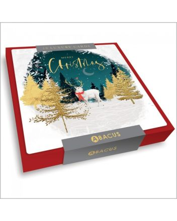 Abacus White Stag Amongst Trees 10 Christmas Card Box