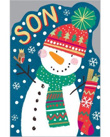 Abacus Jolly Snowman Son Christmas Card