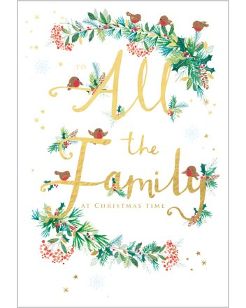 Abacus Foliage and Robins All the Family at Christmas Card