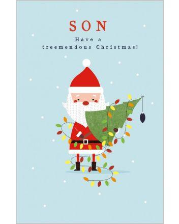 Abacus Santa Son Treemendous Christmas Card