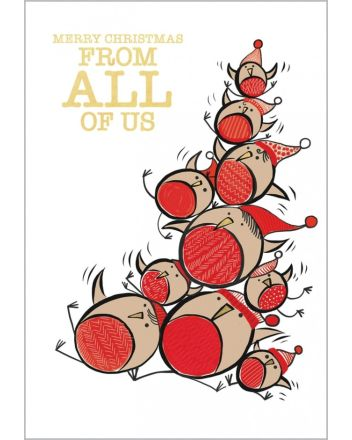 Abacus Robin Pile Up From All of Us Christmas Card