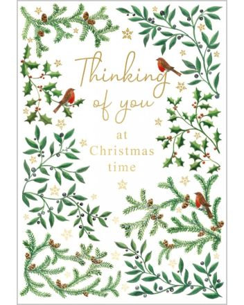 Abacus Thinking of You Robins and Foliage Christmas Card