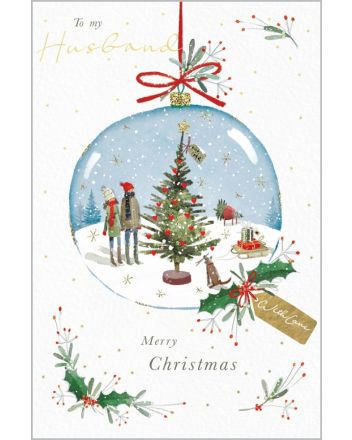 Abacus Snow Globe Husband Christmas Card