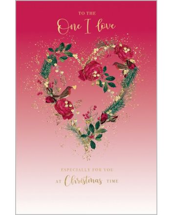 Abacus Floral Heart One I Love Christmas Card