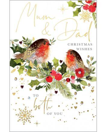 Abacus Robins Mum and Dad Christmas Card