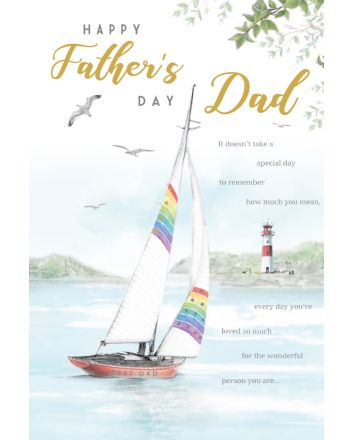 ICG Boat and Lighthouse Fathers Day Card