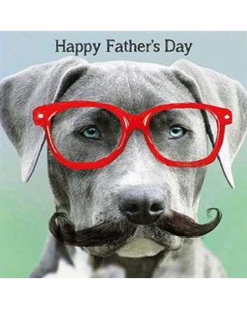 Paper Rose Glasses and Tache Dog Fathers Day Card