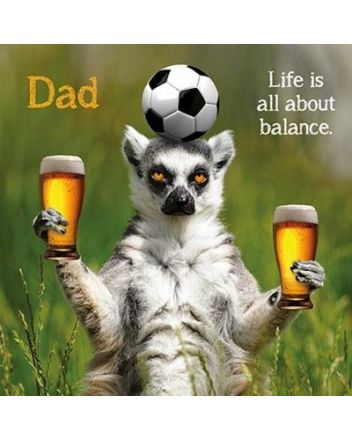 Paper Rose Beer Balancing Lemur Fathers Day Card