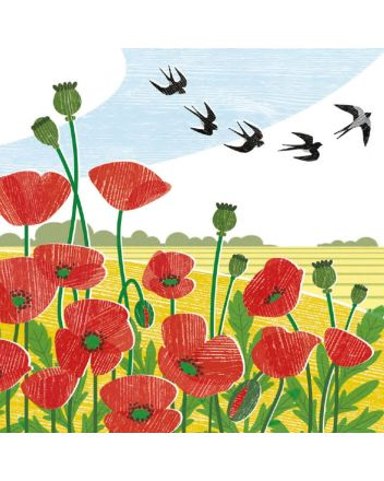 Museum and Galleries Poppy Field and Swallows Greeting Card
