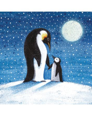 8 Museums and Galleries Moonlit Penguins Christmas Cards
