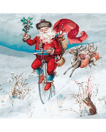 8 Museums and Galleries Santa on a Penny Farthing Christmas Cards