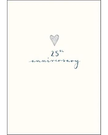 Woodmansterne Silver Heart 25th Anniversary Card