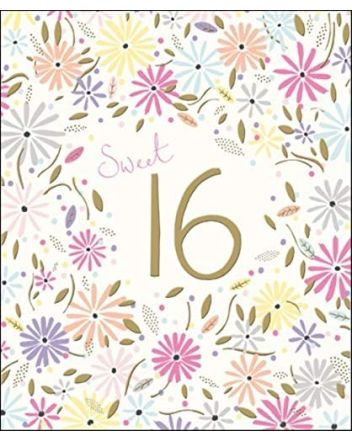Peach and Prosecco Sweet 16th Birthday Card