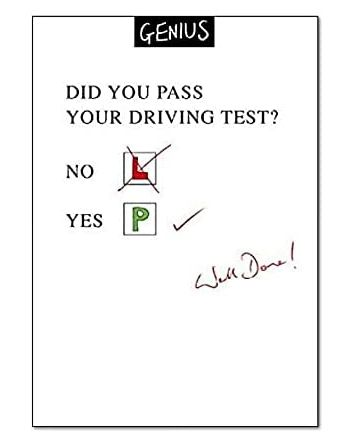 Genius Driving Test Congratulations Card