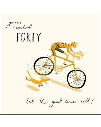 Woodmansterne Cyclist With Dog 40th Birthday Card