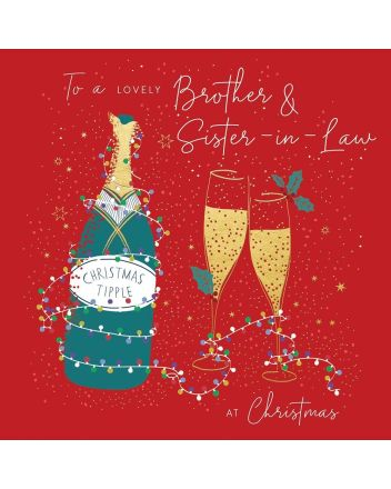Peach and Prosecco Brother and Sister-in-Law Christmas Card