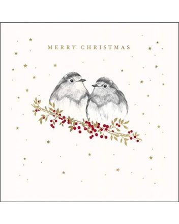 Woodmansterne Robins on Branch Christmas Card
