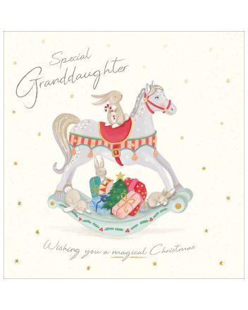 Woodmansterne Granddaughter Rocking Horse Christmas Card