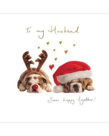 Woodmansterne Husband Snow Happy Together Christmas Card