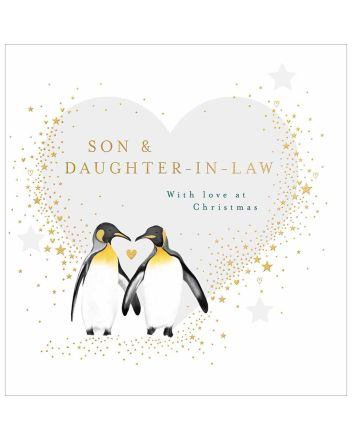 Woodmansterne Penguin Son and Daughter-In-Law Christmas Card