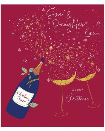 Peach and Prosecco Son and Daughter-in-law Christmas Card