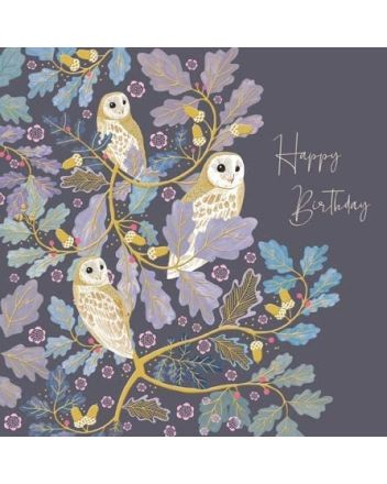 National Trust Harmony Elegant Owls Birthday Card