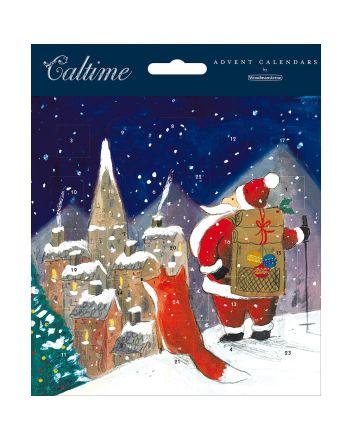 Santa and Fox Advent Calendar Card