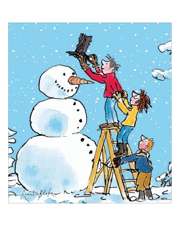 5 Quentin Blake Dressing the Snowman Charity Christmas Cards