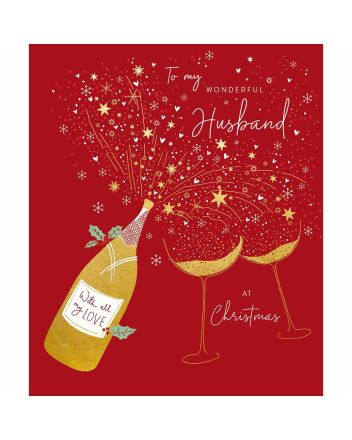Woodmansterne Peach and Prosecco Husband Christmas Card