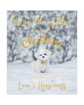 Woodmansterne Granddaughter Puppy Christmas Card