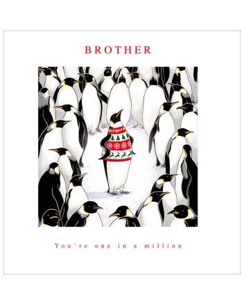 Woodmansterne Penguin Brother Christmas Card