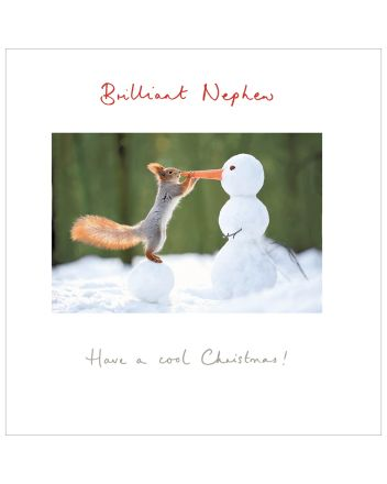 Woodmansterne Nephew Squirrel and Snowman Christmas Card