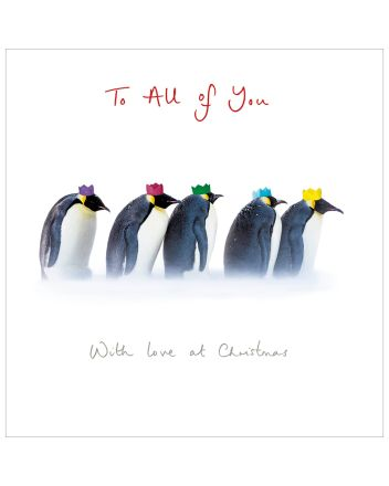 Woodmansterne Penguins To All of You Christmas Card