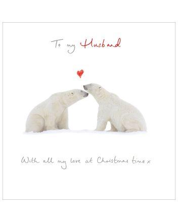 Woodmansterne Husband Polar Bears Christmas Card
