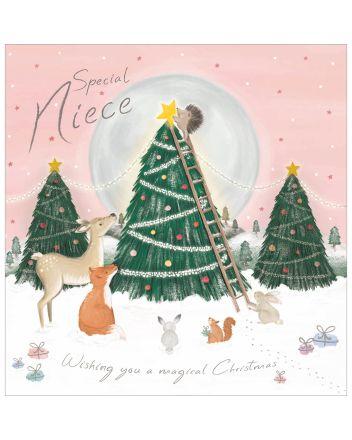 Woodmansterne Niece Woodland Christmas Tree Christmas Card