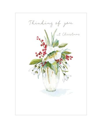 Woodmansterne Vase Thinking of You at Christmas Card