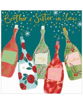 Woodmansterne Bottles Brother and Sister-in-law Christmas Card